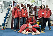 A quick photo-opp at the start of the day in front of the display boards - Graham (on the floor) proves he can still fit through the squeeze box