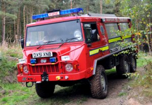 Shropshire Fire and Rescue Pinzgauer in action during a rescue practice