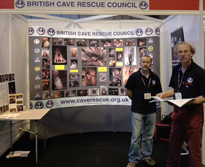 MCRO Secretary Mike Clayton and GCRG Chair Paul Taylor looking after the BCRC stand.