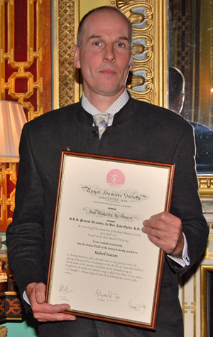 Rick Stanton with his Royal Humane Society award in 2012.